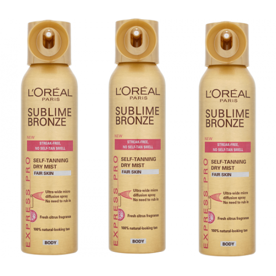 3x L'Oreal Sublime Bronze Express Pro Spray for Fair Skin 150ml
